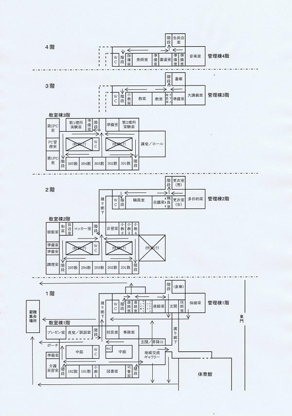 宮城県田尻さくら高等学校避難経路図